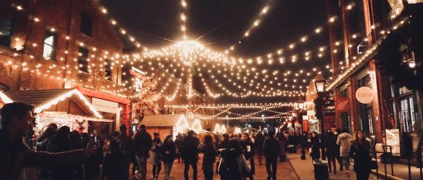 traditional Christmas market with lights